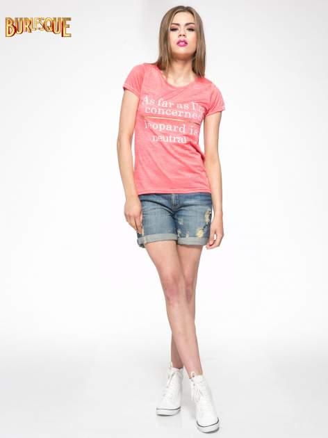 Czerwony półtransparentny t-shirt z napisem                                  zdj.                                  2