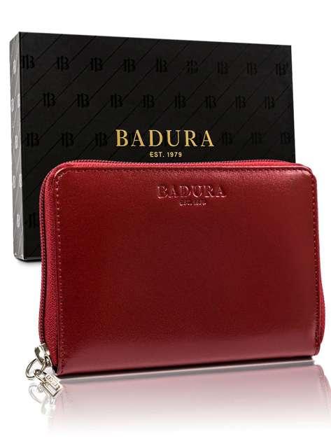 Czerwony portfel męski skórzany BADURA
