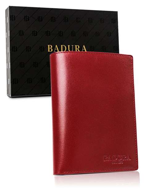 Czerwony portfel męski ze skóry BADURA