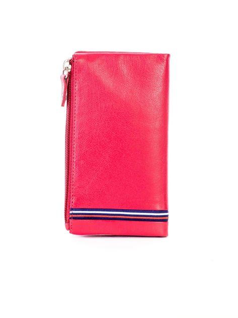 Czerwony portfel skórzany z kieszenią na suwak                              zdj.                              2