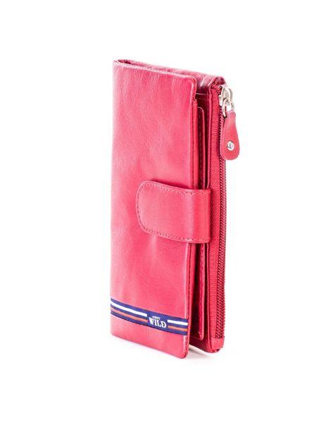 Czerwony portfel skórzany z kieszenią na suwak                              zdj.                              3