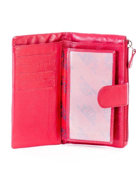 Czerwony portfel skórzany z kieszenią na suwak                              zdj.                              4