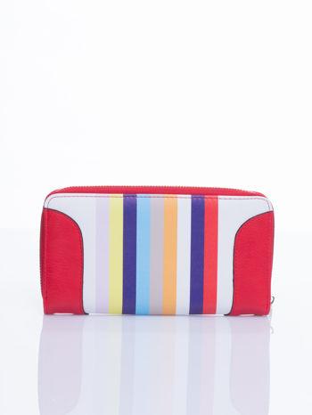 Czerwony portfel w paski z kieszonką                                  zdj.                                  1