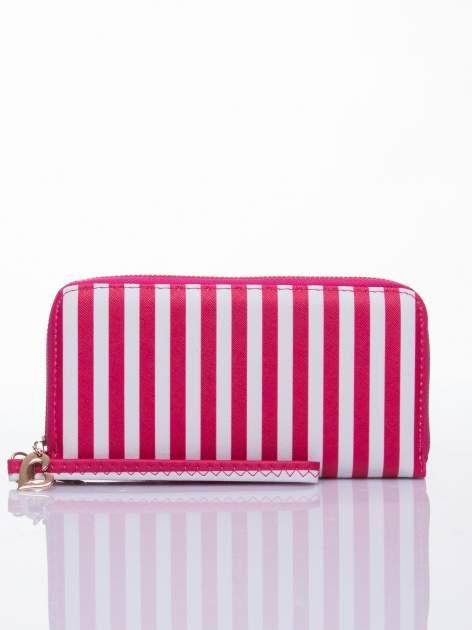 Czerwony portfel w paski z uchwytem