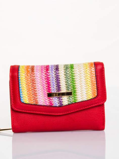 Czerwony portfel z plecionką                                  zdj.                                  1