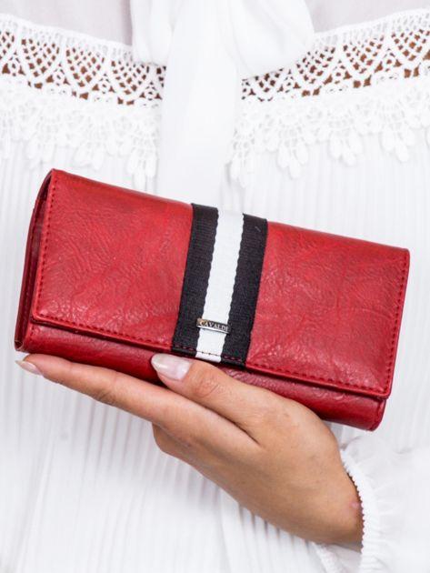 Czerwony portfel z wstawką w paski                              zdj.                              1