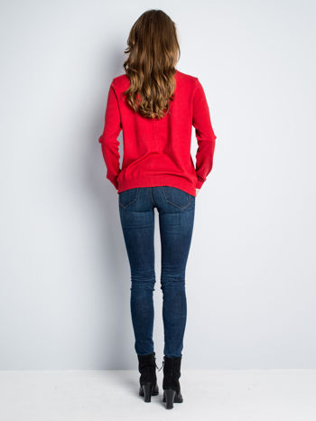 Czerwony rozpinany sweter z bawełny                                  zdj.                                  7