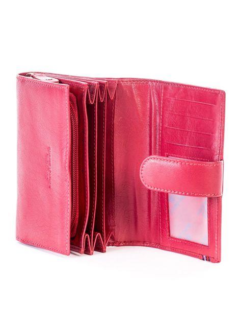 Czerwony skórzany portfel z zapięciem                              zdj.                              5