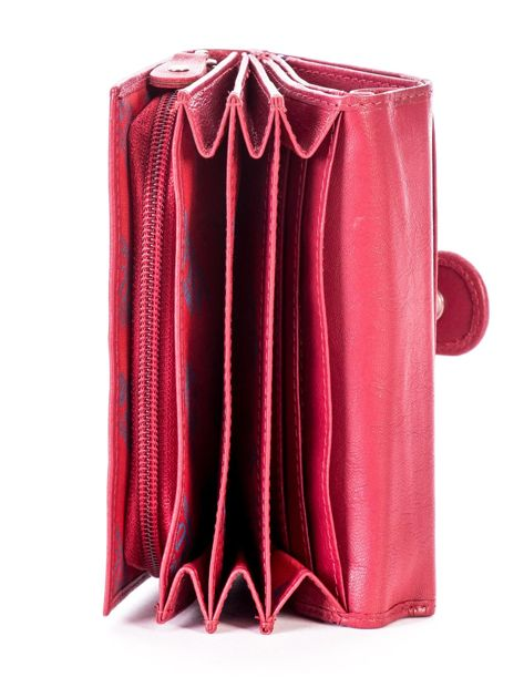 Czerwony skórzany portfel z zapięciem                              zdj.                              6