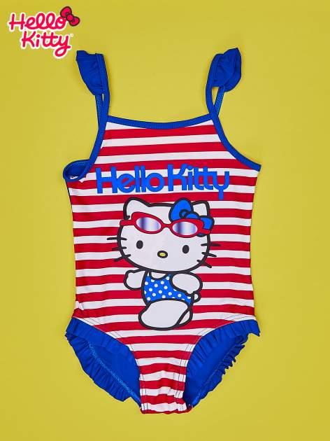 Czerwony strój kąpielowy w paski dla dziewczynki HELLO KITTY                                  zdj.                                  1