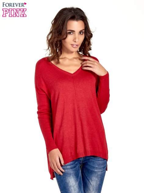 Czerwony sweter V-neck z rozporkami                                  zdj.                                  1