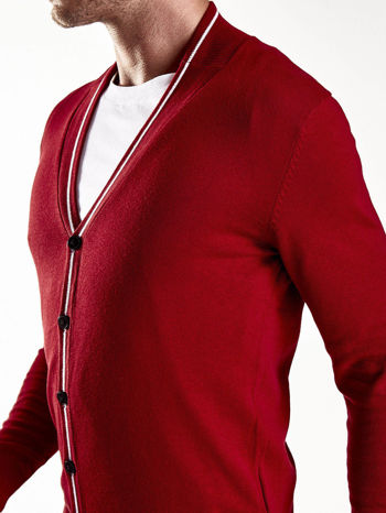 Czerwony sweter męski na guziki Funk n Soul                                   zdj.                                  7