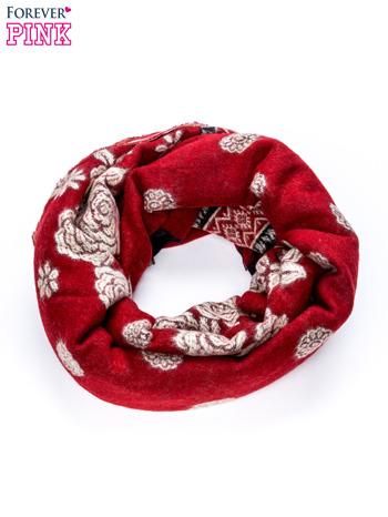 Czerwony szalik z motywem kwiatowym                                  zdj.                                  3
