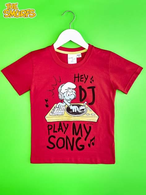Czerwony t-shirt chłopięcy SMERFY                                  zdj.                                  1