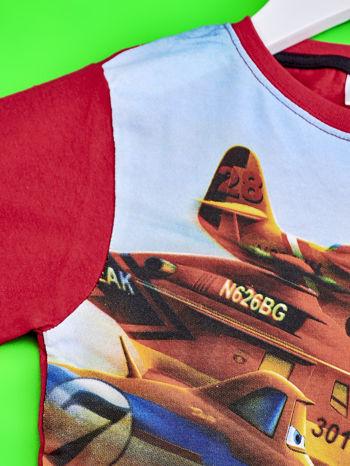 Czerwony t-shirt dziecięcy z nadrukiem SAMOLOTY                                  zdj.                                  3