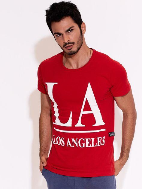 Czerwony t-shirt męski LOS ANGELES