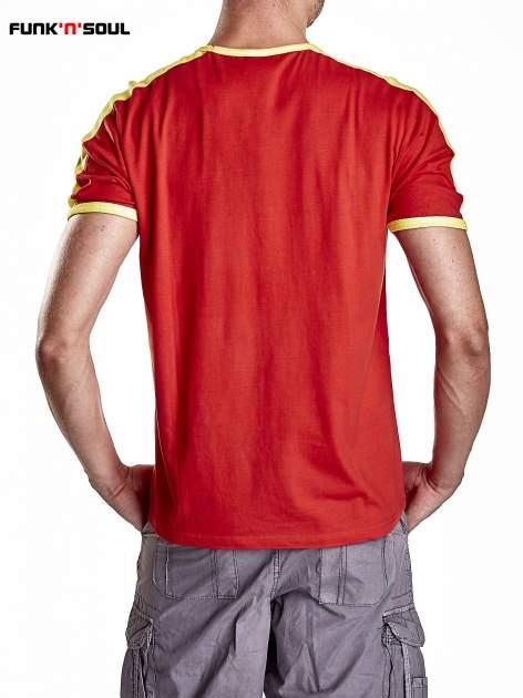 Czerwony t-shirt męski z napisem ESPANA Funk n Soul