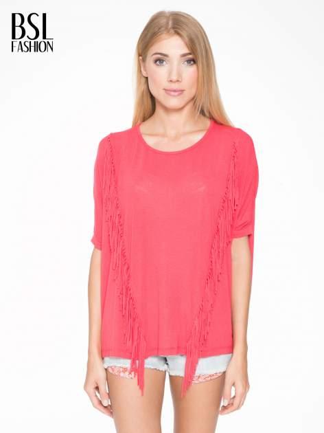 Czerwony t-shirt z frędzlami i siateczkowym tyłem                                  zdj.                                  1