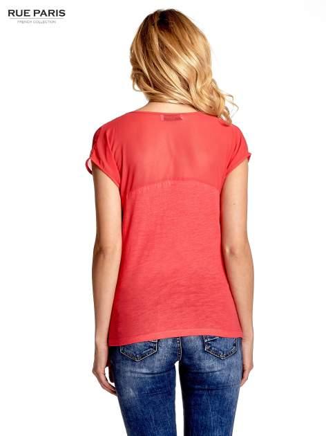 Czerwony t-shirt z górą mgiełką                                  zdj.                                  4