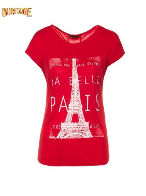 Czerwony t-shirt z motywem Paryża                                  zdj.                                  1