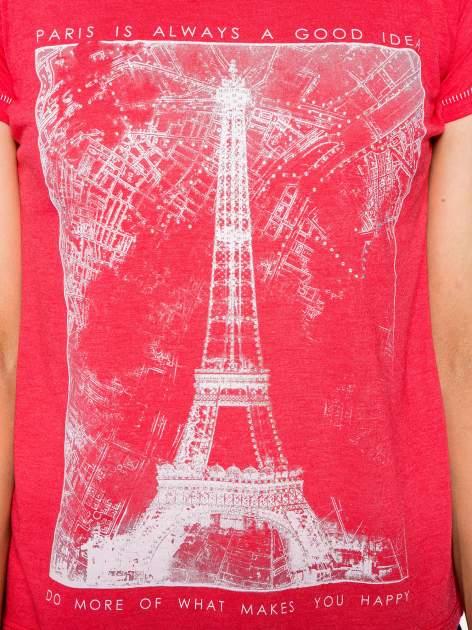 Czerwony t-shirt z nadrukiem wieży Eiffla                                  zdj.                                  7