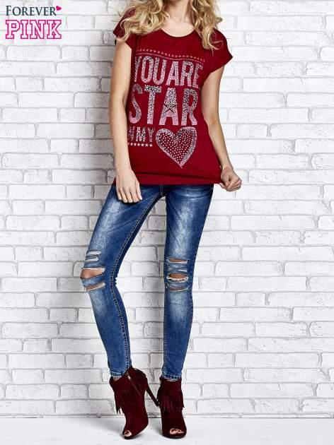 Czerwony t-shirt z napisem YOU ARE STAR IN MY HEART z dżetami                                  zdj.                                  4