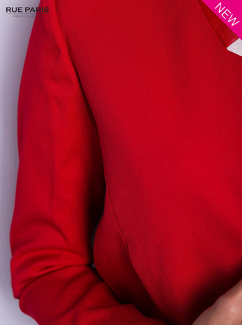 Czerwony żakiet ze skórzaną wstawką                                  zdj.                                  5