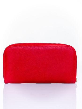 Czerwony zasuwany portfel w kwiatki                                  zdj.                                  2
