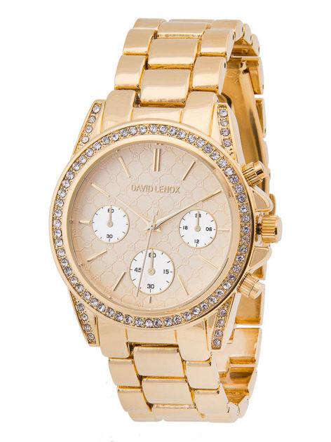 DAVID LENOX Zegarek damski złoty z cyrkoniami z bogatą zdobioną tarczą na bransolecie Eleganckie pudełko prezentowe w komplecie