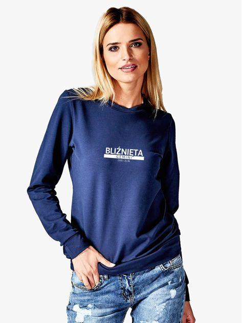 Damska bluza ze znakiem zodiaku BLIŹNIĘTA granatowa                                  zdj.                                  1