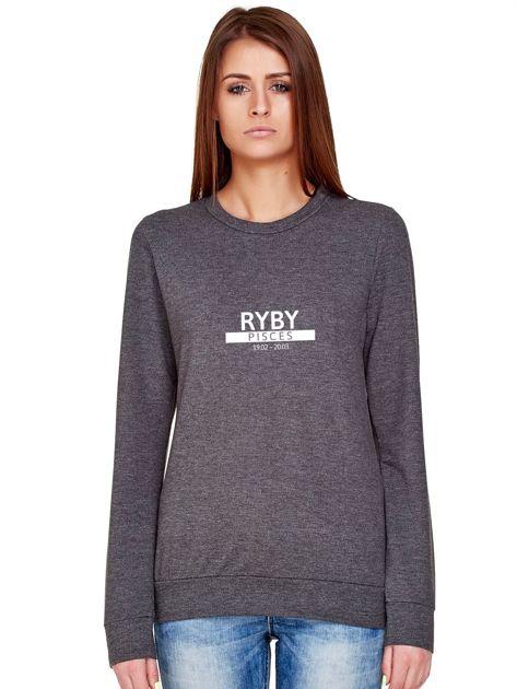 Damska bluza ze znakiem zodiaku RYBY ciemnoszara                                  zdj.                                  1