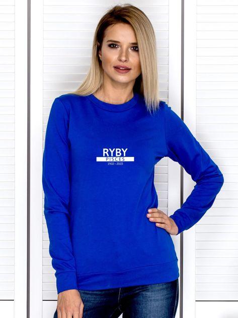 Damska bluza ze znakiem zodiaku RYBY kobaltowa                              zdj.                              1