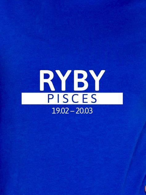 Damska bluza ze znakiem zodiaku RYBY kobaltowa                              zdj.                              2