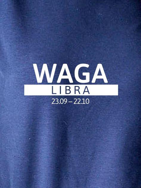 Damska bluza ze znakiem zodiaku WAGA granatowa                              zdj.                              2