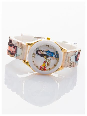 Damski zegarek. Kolorowy rysunkowy motyw na tarczy oraz silikonowym pasku.                                  zdj.                                  2