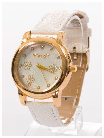 Damski zegarek z cyrkoniami i zdobieniami na perłowej tarczy                                  zdj.                                  2