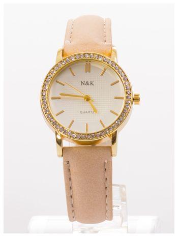 Damski zegarek z cyrkoniami, na welurowym pasku. Klasyczny z nutką elegancji.Poczuj się wyjątkowo!                                  zdj.                                  1