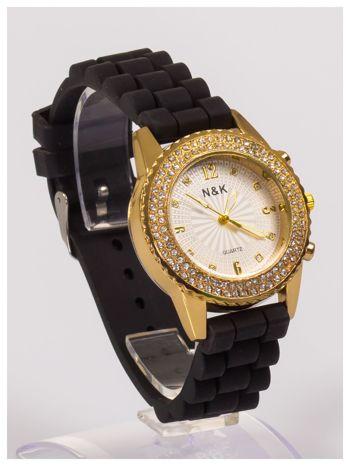 Damski zegarek z cyrkoniami na wygodnym silikonowym pasku                                  zdj.                                  2