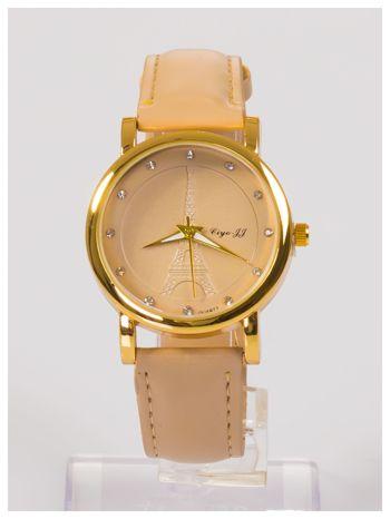 Damski zegarek z cyrkoniami z motywem wieży Eiffla na tarczy                                  zdj.                                  1