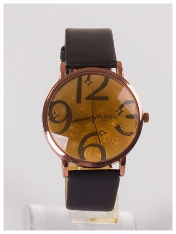 Damski zegarek z ozdobnym dyskretnym motywem kwiatowym na tarczy