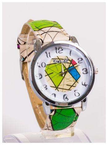 Damski zegarek z ozdobnym motywem geometrycznym na pasku oraz dużej tarczy                                  zdj.                                  3
