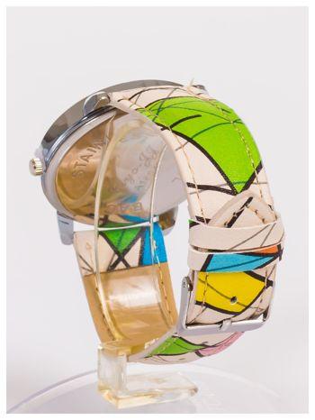 Damski zegarek z ozdobnym motywem geometrycznym na pasku oraz dużej tarczy                                  zdj.                                  4