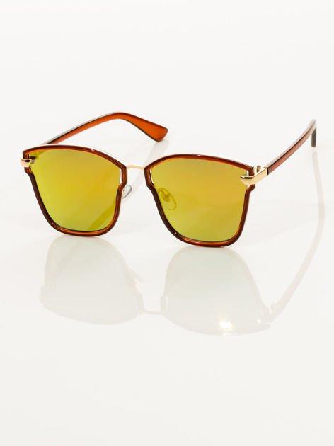Damskie brązowe okulary przeciwsłoneczne złote lustrzanki w nowoczesnym stylu HIT !