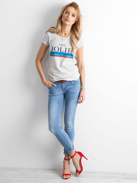 Damskie jeansy z przetarciami niebieskie                              zdj.                              4