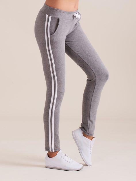 Damskie spodnie dresowe z lampasem szare                               zdj.                              1