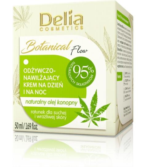 """Delia Cosmetics Botanic Flow Krem odżywczo-nawilżający z olejem konopnym na dzień i noc  50ml"""""""