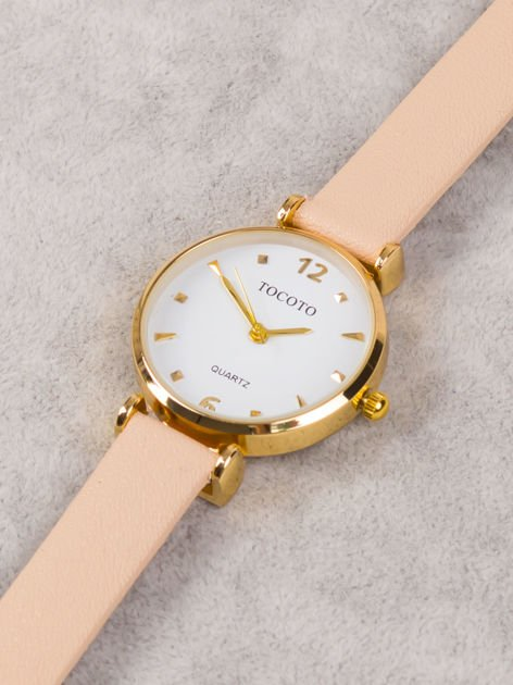 Delikatny złoty zegarek damski