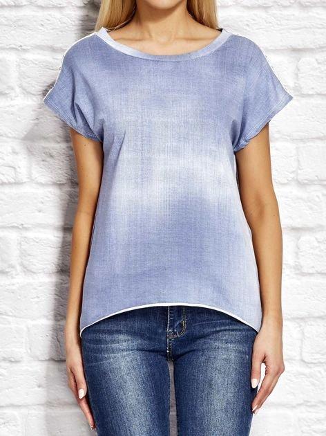 Denimowy t-shirt z koronkowymi wstawkami niebieski                              zdj.                              1