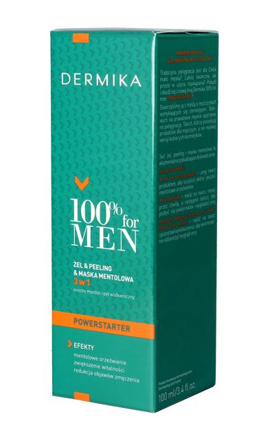 """Dermika 100% for Men Żel & Peeling & Maska mentolowa 3w1  100ml"""""""