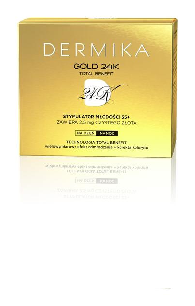 """Dermika Gold 24k Total Benefit 55+ Krem-stymulator młodości na dzień i noc  50ml"""""""